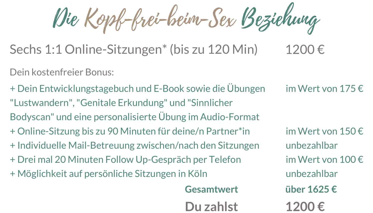 Sexual Life Coaching online 6 Sitzungen