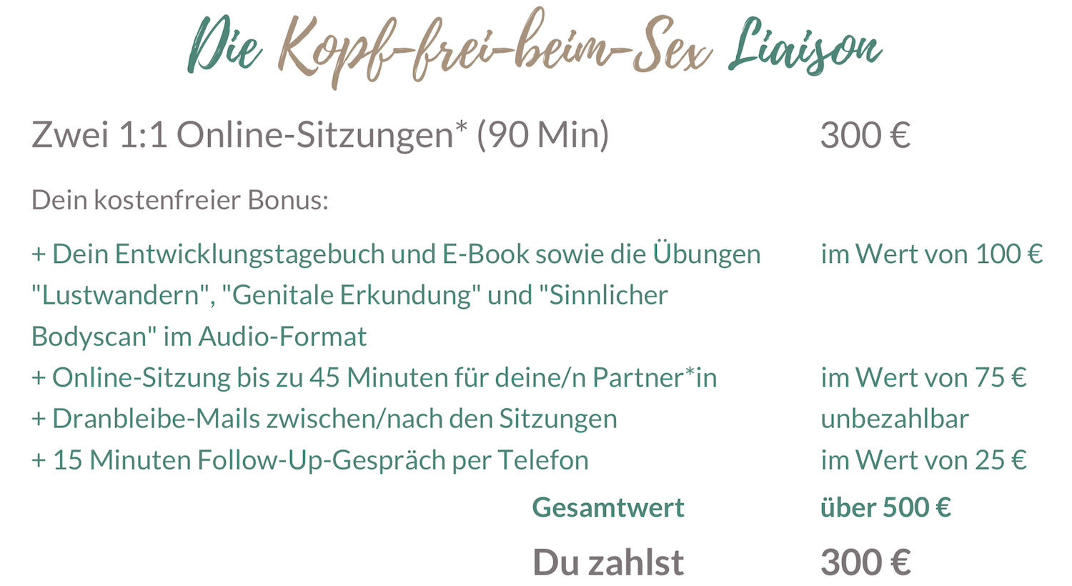 Sexual Life Coaching 2 Sitzungen online